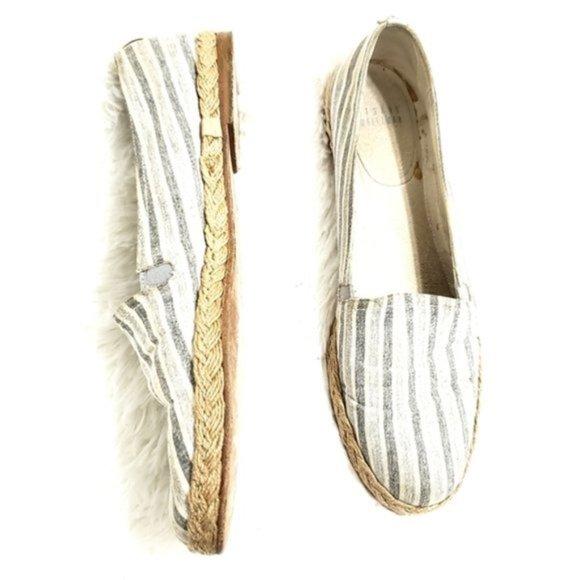 Stuart Weitzman Striped Espadrille Slip On Shoes